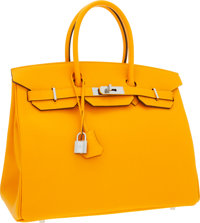 "Hermes 35cm Jaune d'Or Epsom Leather Birkin Bag with Palladium Hardware Pristine Condition 14"" Wi"