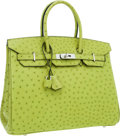 Luxury Accessories:Bags, Hermes 35cm Vert Anis Ostrich Birkin Bag with Palladium Hardware....