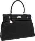Luxury Accessories:Travel/Trunks, Hermes 50cm Black Sikkim Leather Kelly Relax Travel Bag withPalladium Hardware. ...