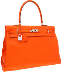 Hermes 50cm Orange H Sikkim Leather Kelly Relax Travel Bag with Palladium Hardware