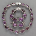 Silver Smalls:Other , AN ANTONIO PINEDA MEXICAN SILVER AND AMETHYST JEWELRY SET . AntonioPineda, Taxco, Mexico, circa 1949-53. Marks: (Antonio-cr... (Total:3 Items)