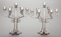 TWO ANTONIO PINEDA MEXICAN SILVER SEVEN-LIGHT CANDELABRA Antonio Pineda, Taxco, Mexico, circa 1962-1963 Marks: