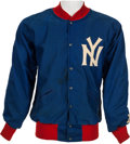 Football Collectibles:Uniforms, Circa 1959-60 New York Giants Sideline Jacket Attributed to George Shaw....