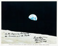 "Autographs:Celebrities, Frank Borman Signed Apollo 8 ""Earthrise"" Color Photo. ..."
