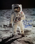 "Autographs:Celebrities, Buzz Aldrin Signed Large Lunar Surface ""Visor"" Color Photo. ..."