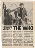 Music Memorabilia:Autographs and Signed Items, The Who Magazine Article Page Signed by Keith Moon and RogerDaltry....