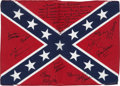 Music Memorabilia:Autographs and Signed Items, Lynyrd Skynyrd Band-Signed Rebel Flag (c. 2006)....