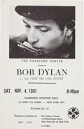 Music Memorabilia:Memorabilia, Bob Dylan Carnegie Chapter Hall Concert Handbill (Folklore Center,1961). ...