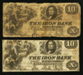Obsoletes By State:Ohio, Ironton, OH- The Iron Bank Counterfeit $10 (2) Mar. 2, 1854 C16 (2)Wolka 1344-13 (2). ... (Total: 2 notes)