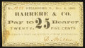 Obsoletes By State:Ohio, Hillsborough, OH- D. Miller at Barrere & Co. 25¢ Dec. 6, 1862Wolka 1301-06. ...