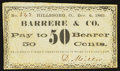 Obsoletes By State:Ohio, Hillsborough, OH- D. Miller at Barrere & Co. 50¢ Dec. 6, 1862Wolka 1301-08. ...