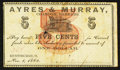 Obsoletes By State:Ohio, Huntsburgh, OH- Edmund Thompson at Ayres & Murray, Bankers 5¢Nov. 1, 1862 Wolka 1332-01. ...