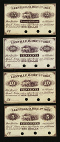 Obsoletes By State:Ohio, Leeville, OH- Unknown Issuer 5¢; 10¢ (2); 25¢ Dec. 1, 1862Remainders Wolka 1466-01; -02 (2); -03. ... (Total: 4 notes)