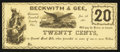 Obsoletes By State:Ohio, Kinsman, OH- Beckwith & Gee 20¢ Jan. 1, 1863 Remainder Wolka1417-03. ...
