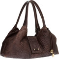 Luxury Accessories:Bags, Loro Piana Brown Python Shoulder Bag . ...