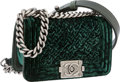 Luxury Accessories:Bags, Chanel Dark Green Lambskin Leather & Velvet Mini Boy Bag withAntiqued Silver Hardware. ...