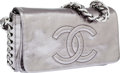 Luxury Accessories:Bags, Chanel Distressed Pewter Leather Modern Chain Flap Bag withGunmetal Hardware. ...