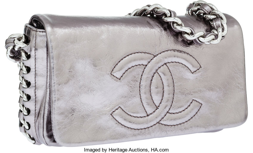 7756b568dbafb6 Luxury Accessories:Bags, Chanel Distressed Pewter Leather Modern Chain Flap  Bag withGunmetal Hardware.