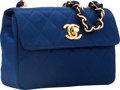 Luxury Accessories:Bags, Chanel Navy Blue Satin Mini Evening Flap Bag with Gold Hardware....