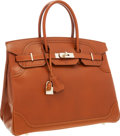 Luxury Accessories:Bags, Hermes Limited Edition 35cm Fauve Tadelakt Leather Ghillies BirkinBag with Permabrass Hardware. ...