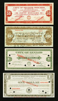 Obsoletes By State:Ohio, Ohio Depression Scrip Group 1907-1934 Eight Examples Fine andBetter. ... (Total: 8 notes)