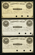 Obsoletes By State:Ohio, Hanoverton, OH- Unknown Issuer 10¢ (2); 50¢ Jan. 1, 1863 RemaindersWolka 1276-02 (2); -04. ... (Total: 3 notes)