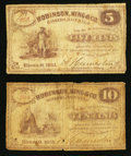 Obsoletes By State:Ohio, Hiram, OH- A. Humeston at Robinson, King & Co., Ravenna 5¢; 10¢1863 Wolka . ... (Total: 2 notes)