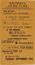 Music Memorabilia:Posters, Beatles Heswall Jazz Club Handbill, September 25, 1962....