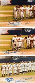 Autographs:Photos, 1982 Old Timers Day Signed Photographs with Mantle, DiMaggio Lot of 7....