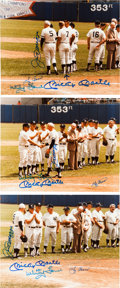 Autographs:Photos, 1982 Old Timers Day Signed Photographs with Mantle, DiMaggio Lot of7....
