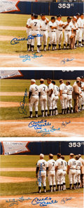 Autographs:Photos, 1982 Old Timers Day Signed Photographs with Mantle, DiMaggio Lot of7.. ...
