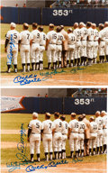 Autographs:Photos, 1982 Old Timers Day Signed Photographs with Mantle, DiMaggio Lot of 6....