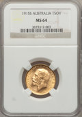 Australia, Australia: George V gold Sovereign 1915-S MS64 NGC,...