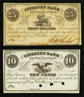 Obsoletes By State:Ohio, Findlay, OH- Wm. H. Wheeler at The Citizens Bank 10¢ Remainder; 25¢Nov. 1, 1862 Wolka 1103-04; -11 . ... (Total: 2 notes)