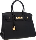 Luxury Accessories:Bags, Hermes 30cm Black Togo Leather Birkin Bag with Gold Hardware. ...