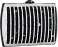 Luxury Accessories:Bags, Judith Leiber Full Bead Black & Silver Crystal SquareMinaudiere Evening Bag with Cabochons. ...