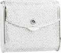 Luxury Accessories:Bags, Judith Leiber Full Bead Silver Crystal Square Minaudiere EveningBag. ...