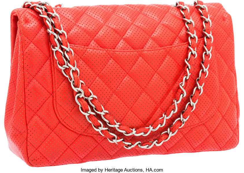 1981f69e1dcb Chanel Red Perforated Lambskin Leather Jumbo Single Flap Bag | Lot #56209 |  Heritage Auctions