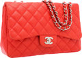 Luxury Accessories:Bags, Chanel Red Perforated Lambskin Leather Jumbo Single Flap Bag withSilver Hardware . ...