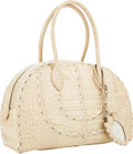 Luxury Accessories:Bags, Alaia Matte Gold Embossed Crocodile Satchel Bag. ...