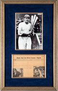 Autographs:Others, Circa 1929 Babe Ruth Signed Telegram with Photograph....