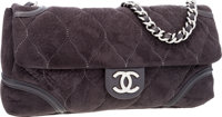 Chanel Gray Microsuede Maxi Flap Bag with Silver Hardware