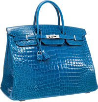 Hermes 40cm Shiny Mykonos Porosus Crocodile Birkin Bag with Palladium Hardware