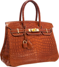 Hermes 30cm Matte Fauve Barenia Nilo Crocodile Birkin Bag with Gold Hardware