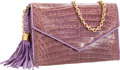 "Luxury Accessories:Bags, Chanel Lilac Crocodile Clutch Bag with Tassel and Gold Chain Strap. Good to Very Good Condition. 7"" Width x 4.5""Heig..."