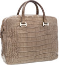 Luxury Accessories:Bags, Bulgari Taupe Crocodile Briefcase Bag. ...