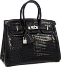 Luxury Accessories:Bags, Hermes Extraordinary Collection 25cm Diamond, Shiny Black NiloCrocodile Birkin Bag with 18k White Gold Hardware. ...