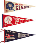 Football Collectibles:Others, 1960's Boston Patriots and New York Giants Pennants Lot of 3....