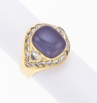 Chalcedony, Diamond, Gold Ring