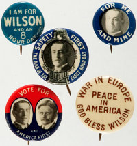 Woodrow Wilson: Five [5] Campaign Buttons